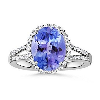 Angara Metal Frills Bezel Tanzanite and Diamond Vintage Ring in White Gold ov7sMb