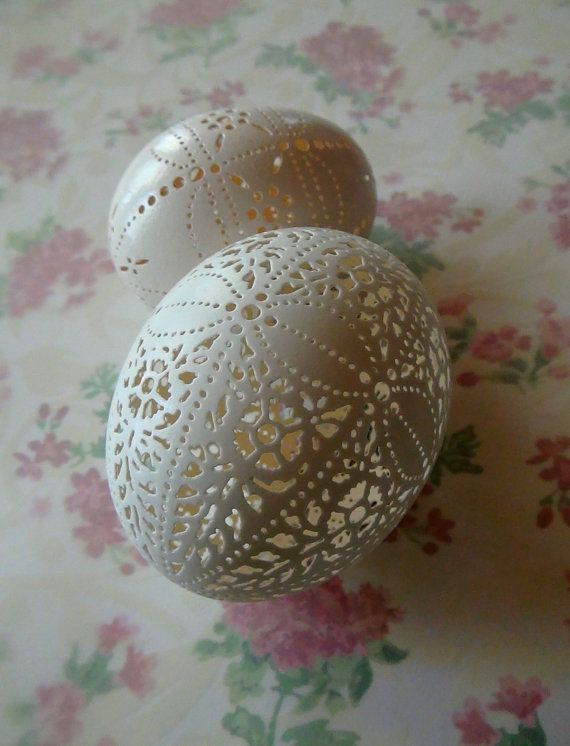 Hand Carved Victorian Lace White Duck Egg  by theNestatWindyCorner, $55.00