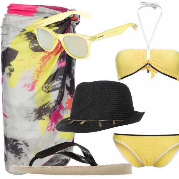 Tutti al mare! Si ma con style, grazie a questo outfit composto da un bel bikini giallo sole che farà risaltare al massimo la vostra abbronzatura, abbinatelo ad un pareo molto raffinato . Completano l'outfit occhiali da sole gialli che riprendono il colore del costume, cappello e infradito nere che riprendono le macchie di colore presenti nel pareo!!!!
