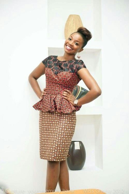 Ankara Peplum Dress With Lace Detail Ankara Style