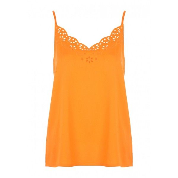 Womens Orange Cutwork Cami Top ($16) ❤ liked on Polyvore featuring tops, camisole tank top, camisole tops, orange tank top, cami tank tops and loose tank