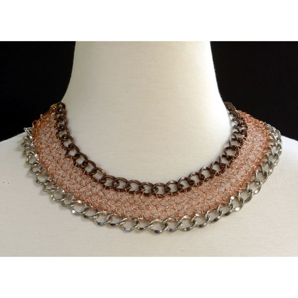 Uma Chain & Crocheted Wire edgy necklace, a statement piece by String Theory Designs