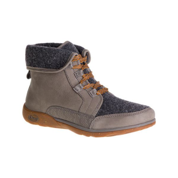Women's Chaco Barbary Boot - Nickel Gray Casual ($150) ❤ liked on Polyvore featuring shoes, boots, casual, winter boots, nickels boots, waterproof winter boots, waterproof boots, chaco boots and shearling-lined boots