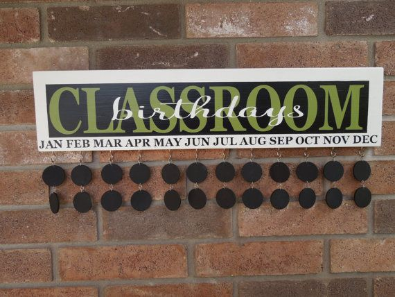 Classroom Birthday Reminder Board Sign (Framed Background) - Painted, Solid Wood, No Vinyl, Chalkboard Tags