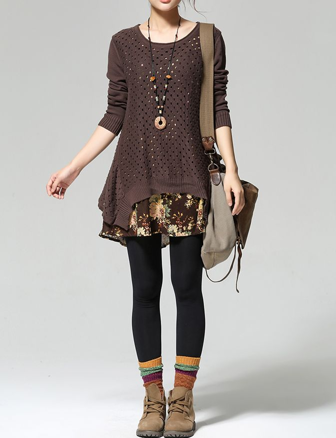 """monsterthigh:  """" Retro Knitted Printed Long Sleeve Patchwork Sweater Dress (5 ... 3"""