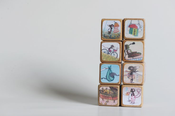 Story blocks, storyblocks, book blocks, miss mouse, toys, baby shower gift, handmade toys