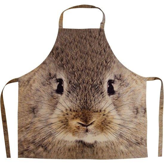 Deze schorten hebben een grote afbeelding van een bruin konijn en zijn ontzettend leuk en origineel. De schort is functioneel en grappig. Deze schort