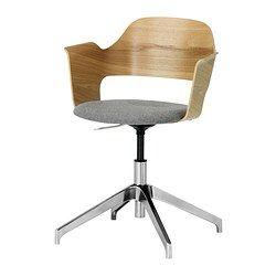 IKEA - FJÄLLBERGET, Cadeira p/escritório, chapa de carvalho/Ullevi cinz, -, , Altura regulável para uma postura confortável.O assento em lã, um material que repele naturalmente a sujidade, resiste a muitos anos de uso.A espuma moldada de elevada elasticidade proporciona um conforto muito duradouro.
