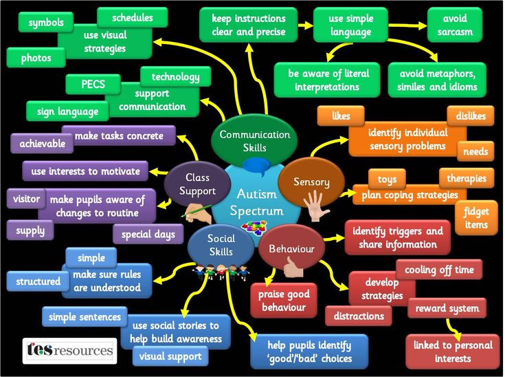 A poster, showing a number of strategies, categorised into different areas, that could support pupils with autism