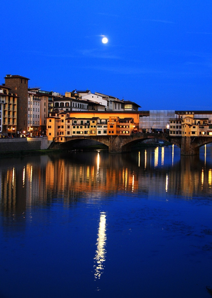 Moonrise. Florence Italy . This location is a relaxing place to be at night, with the stunning moonlight and clear waters