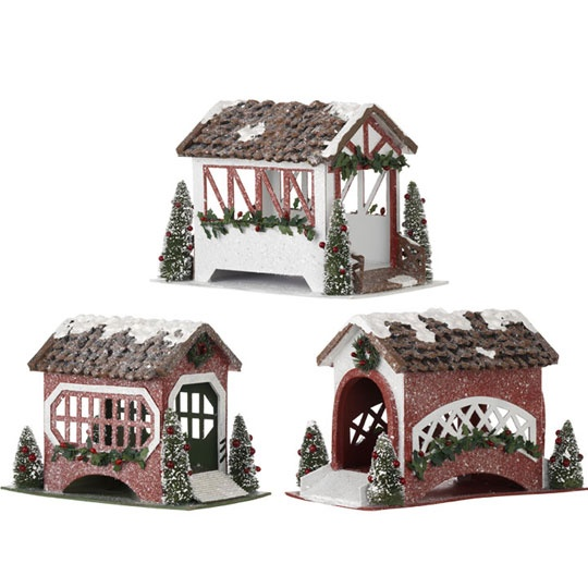 OMG - little covered bridges to go with the glitter houses