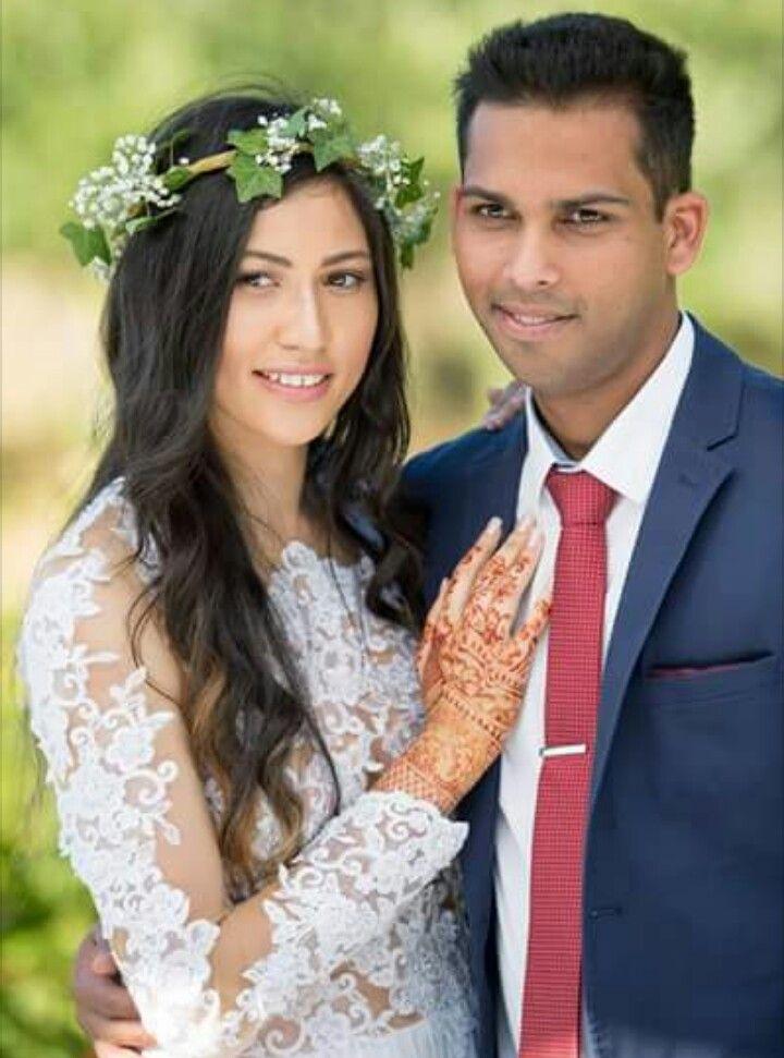 Boho chic wedding...beautiful couple-  flower crown