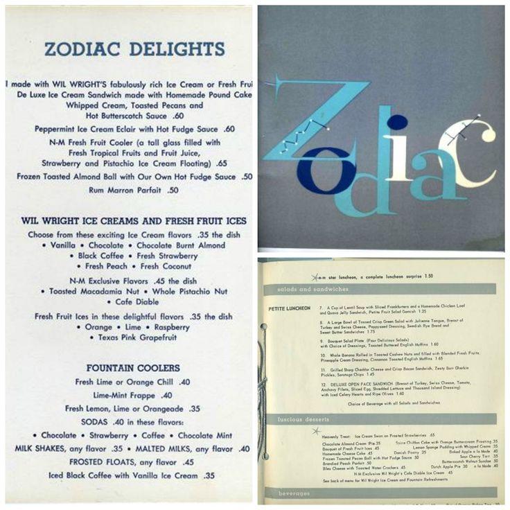 Zodiac Room Dallas Northpark Center Menu
