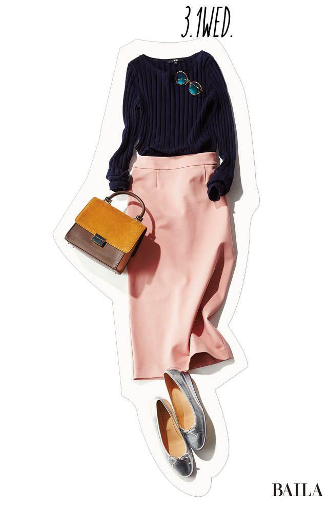 シャイニーな足元もポイント♡ 春の訪れを運ぶ知的ネイビー×可愛げピンクコーデ♪-@BAILA ワタシを惹きつける。モノがうごく。リアルにひびく。BAILA公式サイト|HAPPY PLUS(ハピプラ)集英社