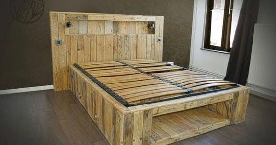 Bed Frame And Headboard Made From Pallets