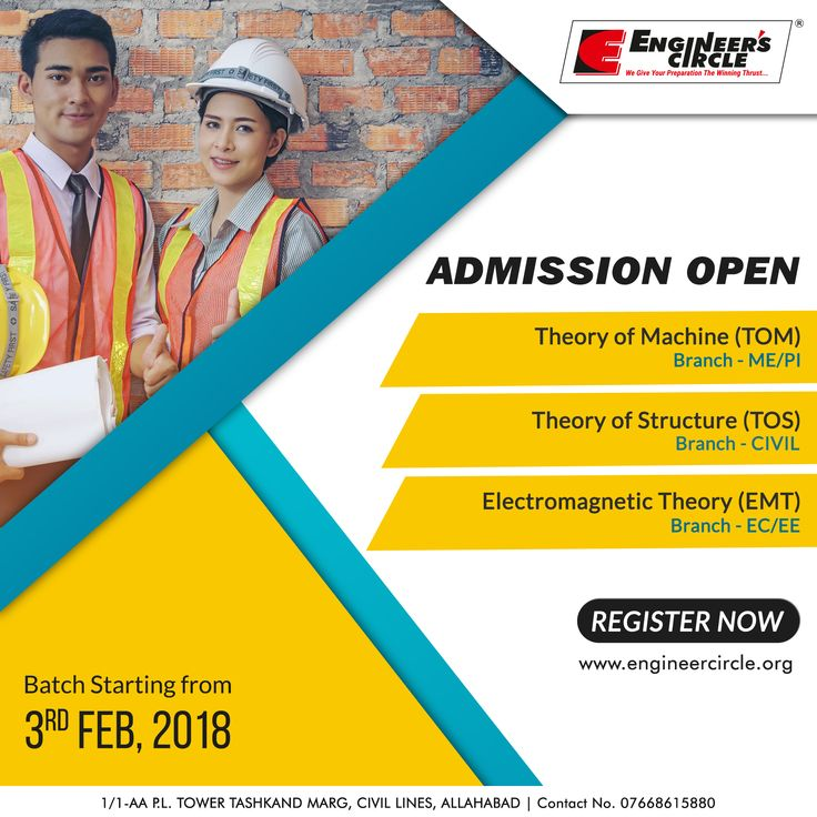#AdmissionsOpen for #Gate #ESE #PSUs. New Batches for ME/PI, EE/EC & CIVIL starting from 3th February 2018.#EnrollNow  For more information contact: Engineer's Circle, 1/1-AA P.L. Tower TASHKAND MARG, NEAR PETROL PUMP PATRIKA SQUARE, CIVIL LINES, ALLAHABAD | PHONE NO: 07668615880