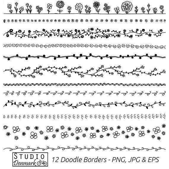 Flores Doodle fronteras Clipart Set - uso comercial - 12 flor Doodle Vector Clip Art - png, jpg y eps - descarga instantánea