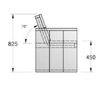 Stap 3 om een tuinbank van steigerhout te bouwen, doe het zelf bouwtekening voor de rugleuning montage.