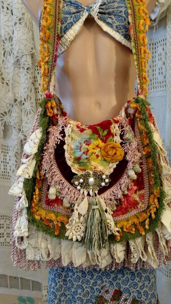 Handgemachte Schulter-Teppich-Tasche Fransen Vintage Lace Hippie Gypsy Boho Geld… – helga