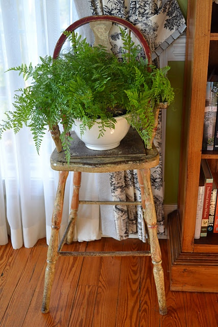 simple yet elegant way to use an old chair. A way to use my antique high chair