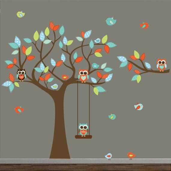 Etiquetas de la pared, pegatinas, calcomanía, árbol, habitación, vinilo, niños, calcomanía, conjunto de calcomanía de bebé-árbol con rama