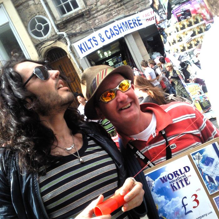 WORLD smallest KITE in Edinburgh flown by Russel Brand