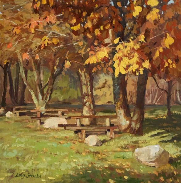 FINEARTSEEN - The Golden Season by Ling Strube. A beautiful original oil painting of an Autumn Landscape. Available on FineArtSeen - The Home Of Original Art. Enjoy Free Delivery with every order. << Pin For Later >>