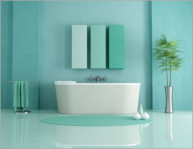 This bathroom is having sea green tones the wall is is for Blue green bathroom ideas