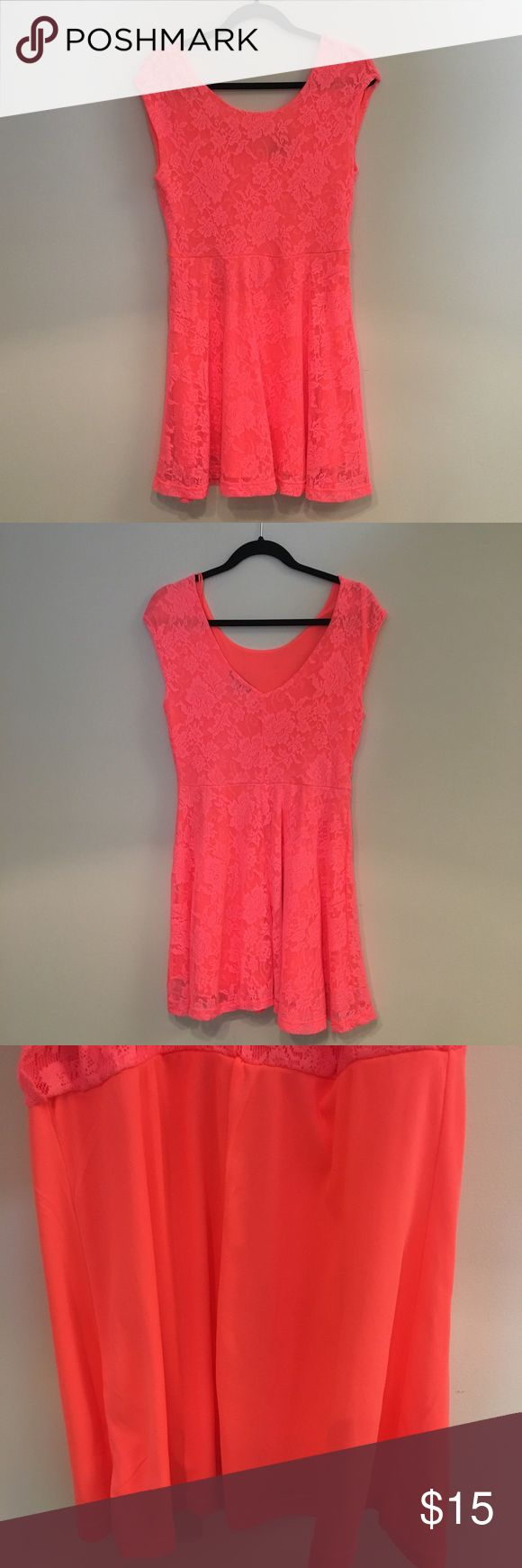Coral Lace Dress 👗 Light, comfy coral colored lace dress from Cotton On! It is very eye catching as the color is so bright in person! The back dips lower to show off your back. Let me know if you have any questions and feel free to make an offer! 😊 Cotton On Dresses Mini