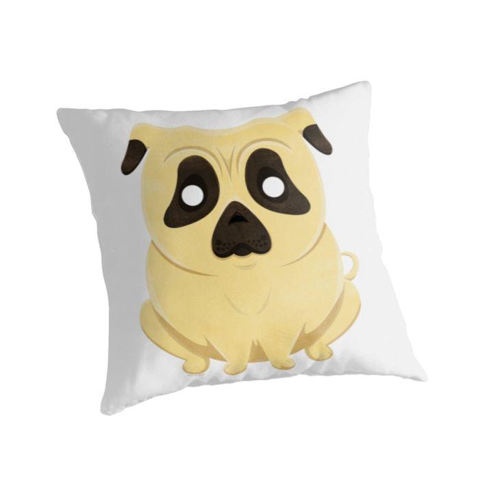 Chubby Cartoon Pug Pillow by AnMGoug on Redbubble. #dog #pillow #pug