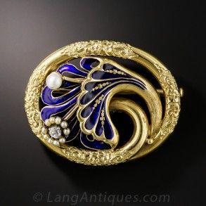 English Victorian Blue Enamel Brooch