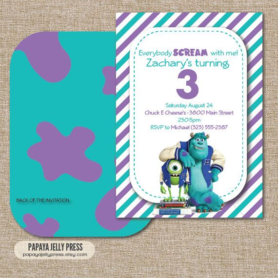 monsters university birthday invitation sully and mike wazowski double sided invitation