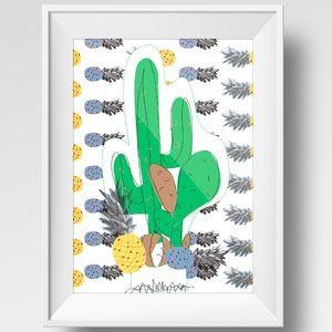 Image of Illustration de cactus avec ananas colorés / Illustration of a cactus with colorful pineapple