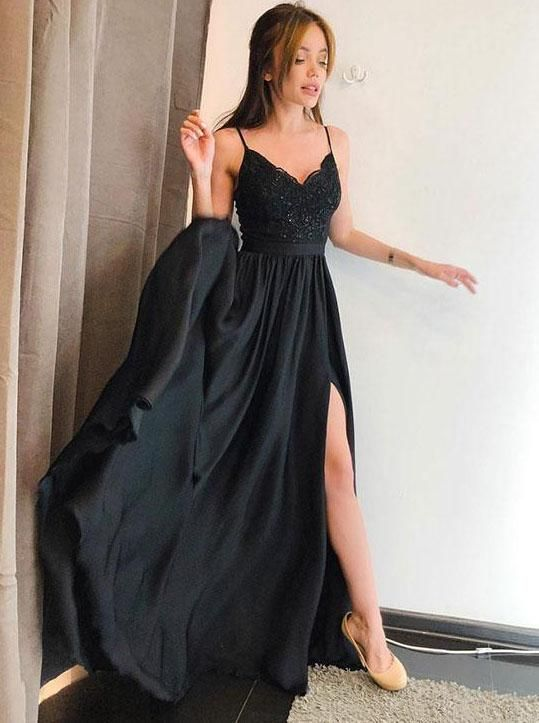 feee0a7b42 Elegant A-line Spaghetti-straps Long Black Prom Dress with Split OP351 in  2019 | Matric dance dresses | Prom dresses, School dance dresses, Dance  dresses