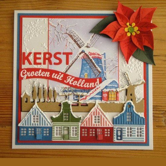 Card by Liza & Jeannette with Creatables Holland Horizon (LR0381), Zaanse Schans (LR0382), Craftables Mini Alphabet (CR1281) and Collectables Eline's Poinsettia (COL1393) by Marianne Design: