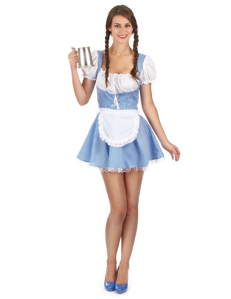 Déguisement bavaroise Fête de la bière femme : Ce déguisement de bavaroise pour femme est composé d'une robe et d'un tablier (chapeau et bas non inclus). La robe bavaroise est courte aux motifs vichy bleus et blancs. Un...