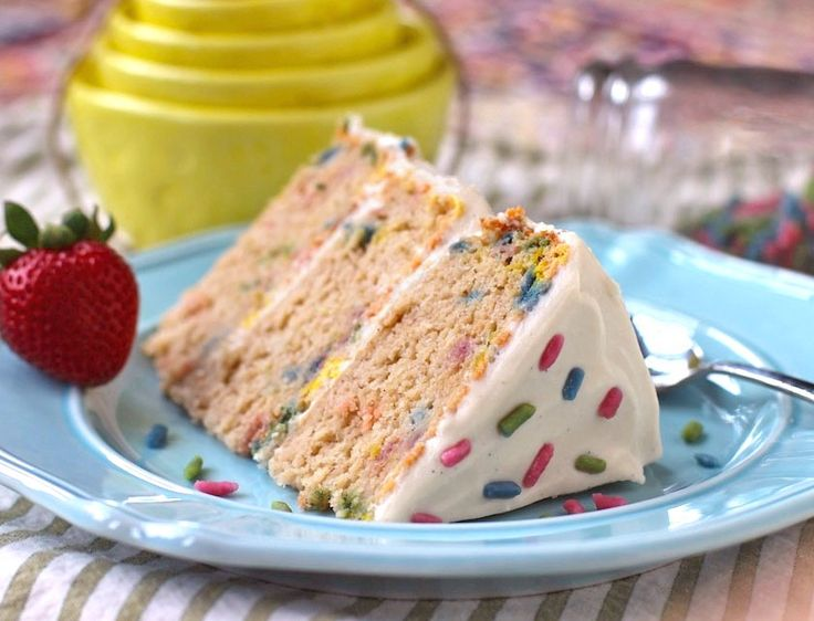Low Sugar Cake Icing Recipes: Healthy Homemade Funfetti Cake With Cream Cheese Frosting