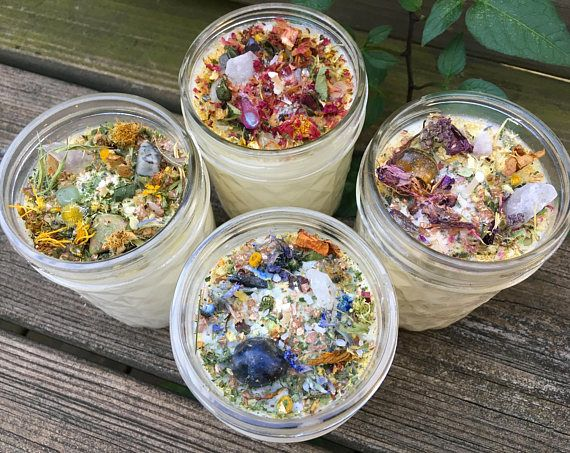 Crystal Candles – All Natural Aromatherapy Crystal Candle with Organic Herbs & Flowers – Crystal Candle – 8oz Custom Candle