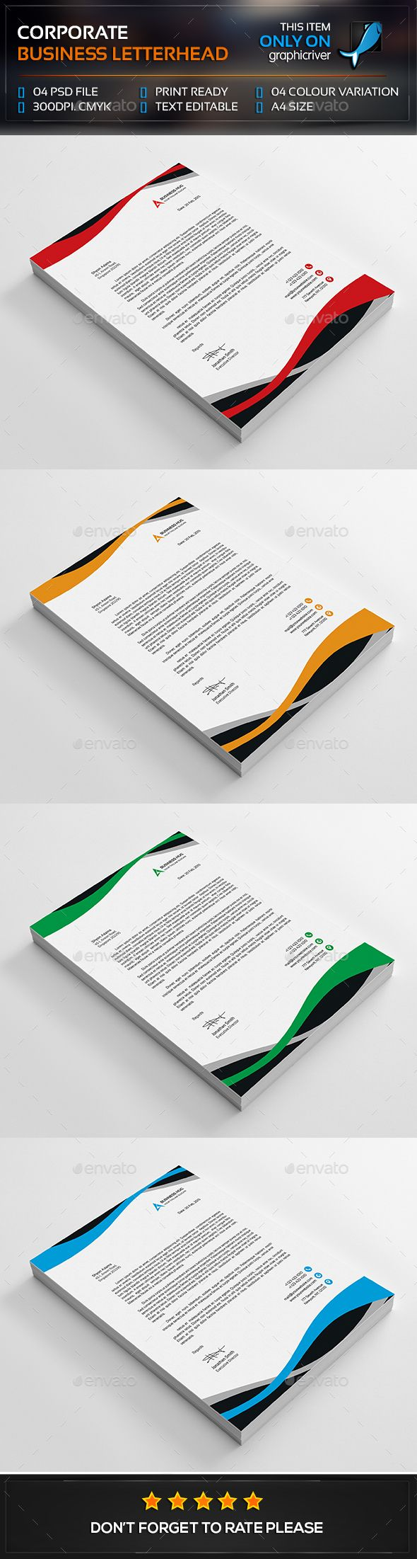 #Corporate Business Letterhead - Stationery Print Templates Download here: https://graphicriver.net/item/corporate-business-letterhead/13367448?ref=classicdesignp