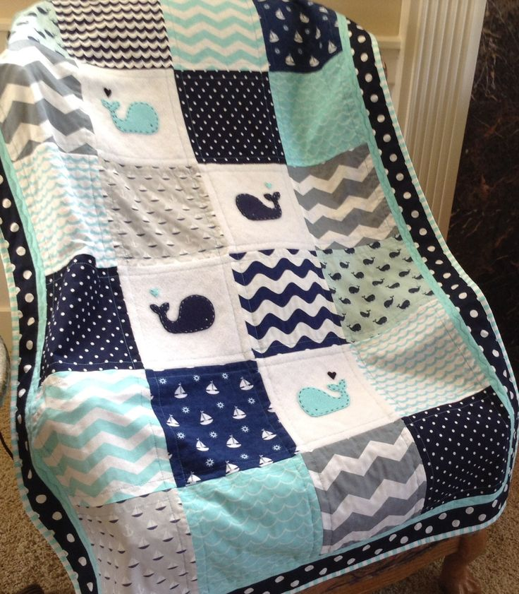 AQUA NAVY NAUTICAL Quilt/Anchor quilt/Whale blanket/Crib size by Lovesewnseams on Etsy
