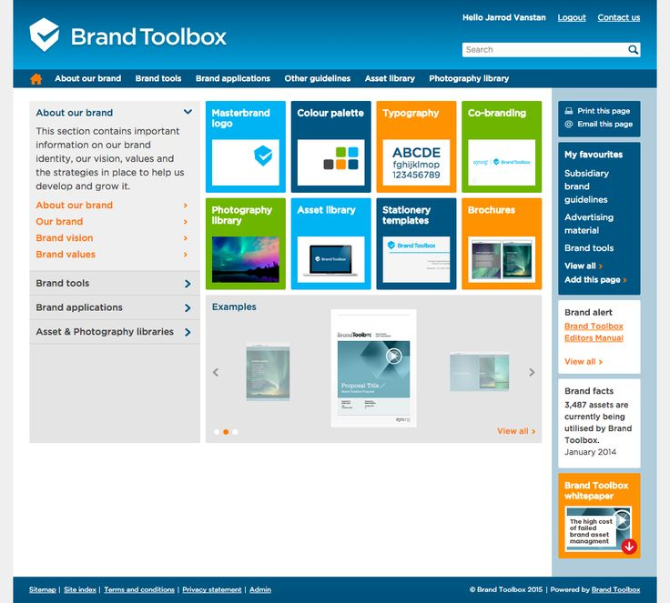 Brand Toolbox Content Management System (CMS) - Home page