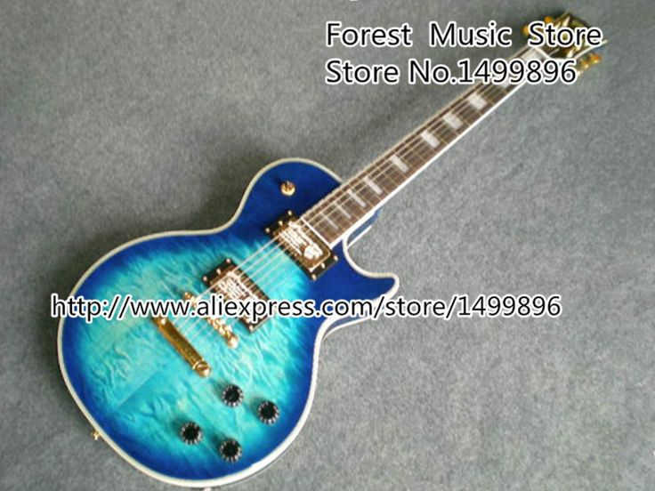 Wholesale & Retail Blue Quilted Guitar Body LP Custom Guitar Electric Left Handed Custom Available #Affiliate
