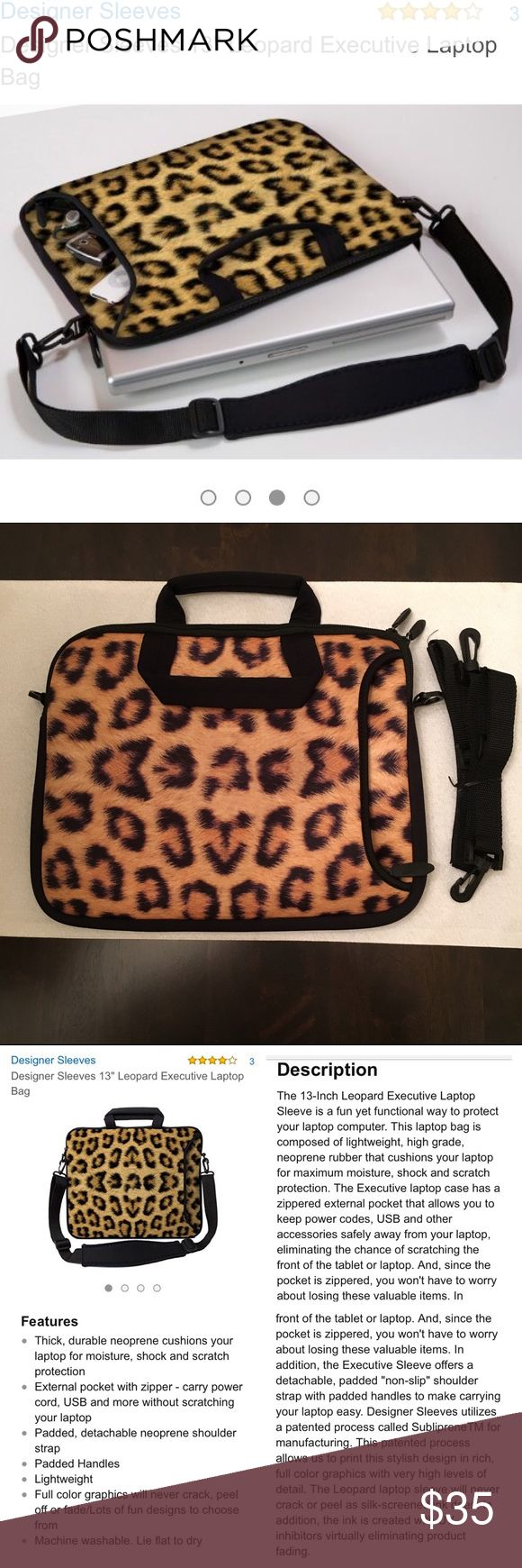 """NWOT 13"""" Designer Sleeves leopard laptop bag Purchased on Amazon (hence no tags) but never used. Lightweight, high grade neoprene rubber is soft to the touch but strong enough to protect your laptop or tablet. See photos #4 and #5 for a complete description of features as stated in Amazon listing. Shoulder strap was never unfolded, is still tied up in original twistie. Is machine washable if needed. Great bag - fashionable AND functional! Designer Sleeves Bags Laptop Bags"""