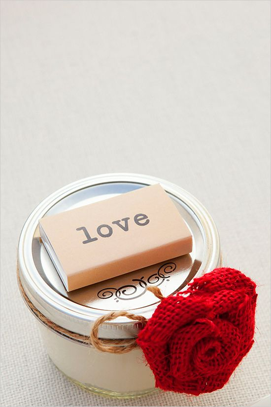 cute diy wedding favors: small mason jar filled w/a candle & a book of matches #weddingfavors