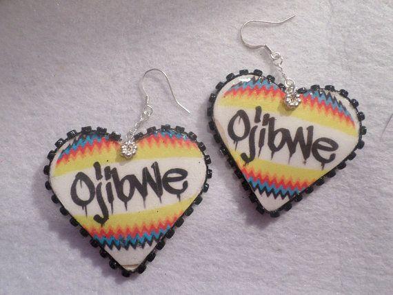 Ojibwe Heart Earrings by LittleRedBear1 on Etsy, $25.00
