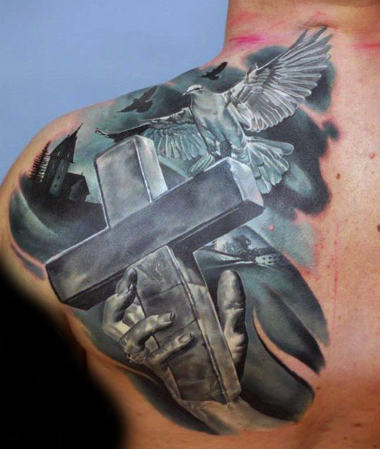 3d Badass Cross With Doves Mens Back And Shoulder Tattoo