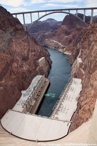 Hoover Dam and the Mike O'Callaghan-Pat Tillman Memorial Bridge, Lake Mead Recreation Area, Mojave Desert, Nevada.