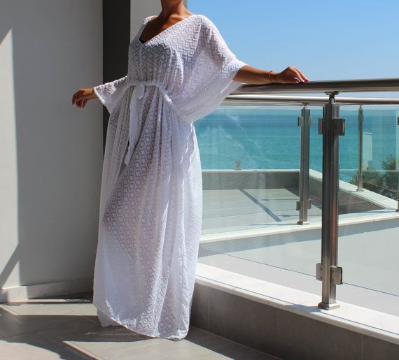 White cover up dress Maxi Dress  Caftan by cherryblossomsdress