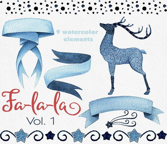 Christmas clipart watercolor clipart deer by WatercolorNomads #Christmas #Clipart