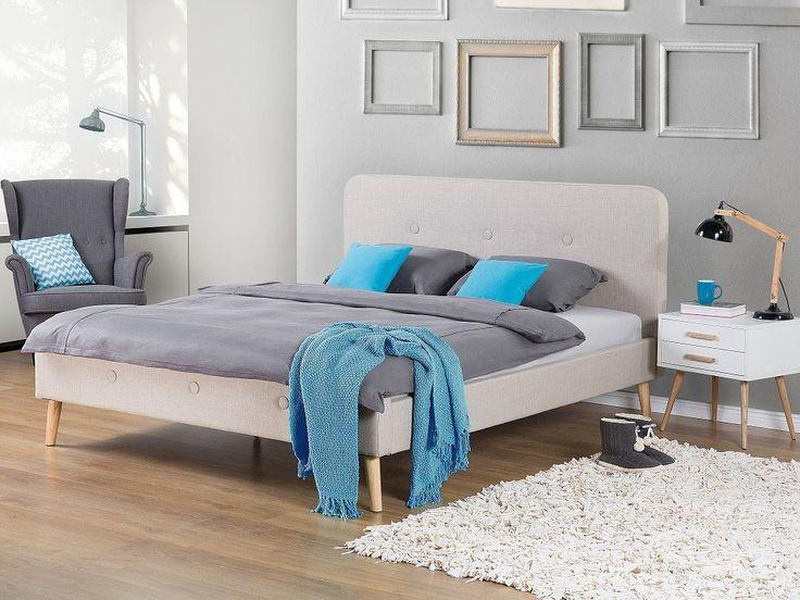 Säng beige - dubbelsäng - stoppad säng med ribbotten - 160x200 cm - RENNES